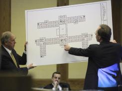 Defense attorneys hold an enlarged map of the fourth floor of West Ambler Johnston Hall on the Virginia Tech campus in Montgomery County Circuit Court in Christiansburg, Va., on Wednesday.