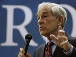 Rep. Ron Paul, R-Texas, talks to supporters during a rally March 10 in Springfield, Mo.
