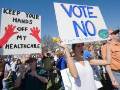 Tea Party supporters demonstrate against President Obama's health care agenda in Washington on March 20, 2010.