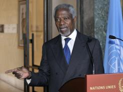 Kofi Annan gives a statement after his address to the Security Council in New York at the United Nations headquarters in Geneva, Switzerland.