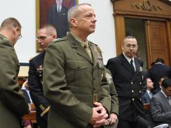U.S. Marine Gen. John Allen arrives to testify Tuesday before the House Armed Services Committee about recent events in Afghanistan.