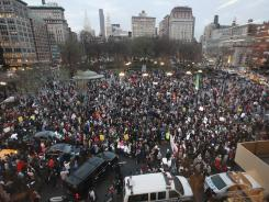 "Supporters of Trayvon Martin block traffic as they march through Union Square during a ""Million Hoodie March"" in Manhattan on March 21, in New York City."