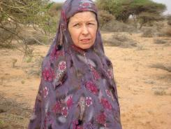 British hostage Judith Tebbutt is pictured in the outskirts of Adado town in central Somalia on Wednesday.