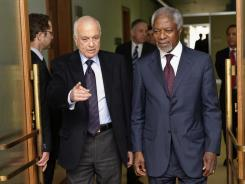 Kofi Annan, right, meets Arab League chief Nabil al-Arabi on Tuesday at the United Nations offices in Geneva.