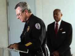 Sanford Police Department Chief Bill Lee announces he will temporarily step down in the wake of the Trayvon Martin killing.