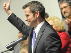 Freshman GOP Rep. Adam Kinzinger speaks to supporters in Utica, Ill., after winning his primary Tuesday. The Campaign for Primary Accountability targeted his opponent, Rep. Don Manzullo.