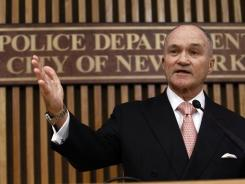 New York Police Commissioner Ray Kelly answers questions during a news conference in New York.