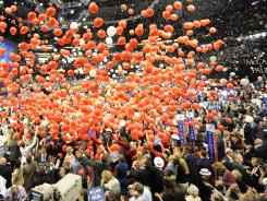 Balloons are dropped over the arena at the end of the Republican National Convention in St. Paul, Minn., in this Sept. 4, 2008, file photo.