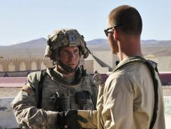 Army Staff Sgt. Robert Bales, left, participates in an exercise Aug. 23 at Fort Irwin, Calif.