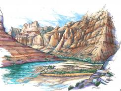 This artist rendering depicts a proposed aerial tramway that would ferry tourists from the cliff tops of the east rim of the Grand Canyon to the water's edge of the Colorado and Little Colorado Rivers below.