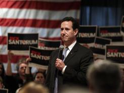 Rick Santorum speaks during a campaign rally Saturday in Bellevue, Wis.