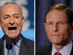 Troubled by reports of the practice of employers asking for Facebook passwords during job interviews, Democratic Sens. Chuck Schumer of New York, left, and Richard Blumenthal of Connecticut said they are calling for a federal probe.