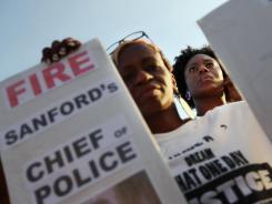 Rally for Trayvon Martin: Protesters demonstrate in Sanford, Fla., on Thursday.