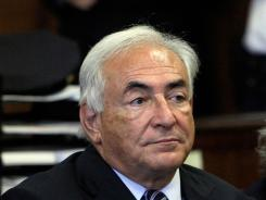 Former International Monetary Fund director Dominique Strauss-Kahn appears before a judge in Manhattan district court.