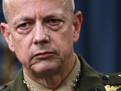 Marine Gen. John Allen, the top U.S. commander in Afghanistan, listens during a Monday news conference at the Pentagon.