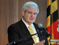 Former House speaker Newt Gingrich speaks in Salisbury, Md., on Tuesday.