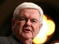 Republican presidential candidate Newt Gingrich delivers remarks to students at Georgetown University March 28.