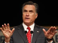 Mitt Romney speaks at Lawrence University's Stansbury Theatre in Appleton, Wis.