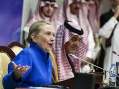 Hillary Clinton speaks during a joint press conference with Saudi Foreign Minister Prince Saud al-Faisal on Saturday in Riyadh.