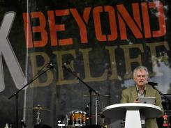 Professor Richard Dawkins speaks at the Rock Beyond Belief event Saturday at Fort Bragg, N.C.