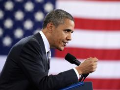 President Obama speaks during a campaign event at the Southern Maine Community College in Portland, Maine, on Friday.