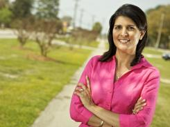 Nikki Haley stands at the line that once divided whites and blacks in Bamberg, S.C.