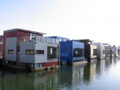 Amphibious houses are seen in the harbor of the IJburg neighborhood in Amsterdam.