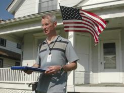 Timothy Culp-Northwood, a Census enumerator, does follow-up visits to homes in Racine, Wis., on June 1, 2010. Census workers were the victims of attempted shootings, assaults, robberies, carjackings and kidnapping, according to the Census Bureau.