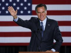 Mitt Romney addresses supporters in Milwaukee following his win in the Wisconsin GOP primary on Tuesday.