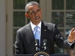 President Obama holds a news conference at the White House on Monday.
