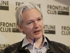 Julian Assange, founder of WikiLeaks, speaks at a press conference in London on Feb. 27, 2012.