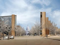 Dwight D. Eisenhower's family wants a memorial in Washington redesigned, saying the current plans (shown) overemphasize his humble Kansas roots.