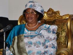 Then-Malawi's Vice President Joyce Banda holds a press conference in April in Lilongwe, Malawi.