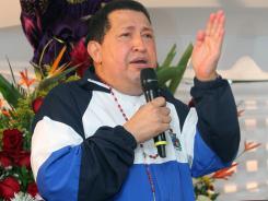 Venezuelan President Hugo Chavez speaks during a mass for his health in Barinas, Venezuela.