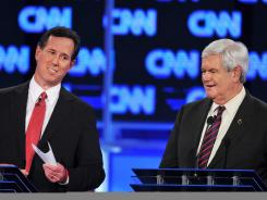 GOP debate: Rick Santorum and Newt Gingrich.