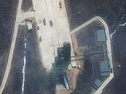 A satellite image shows continued activity at the launch pad of the Tongchang-ri Launch Facility on North Korea's western coast.