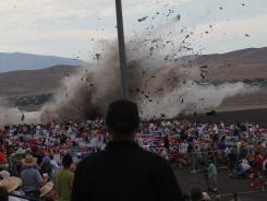 A P-51 Mustang airplane crashes into the edge of the grandstands at the Reno Air show on Sept. 16.