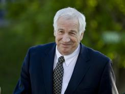 Jerry Sandusky, a former Penn State assistant football coach charged with sexually abusing boys, arrives at the Centre County Courthouse on April 5 in Bellefonte, Pa.