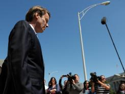 John Edwards leaves the U.S. Federal Courthouse in Greensboro, N.C., after the first day of jury selection.