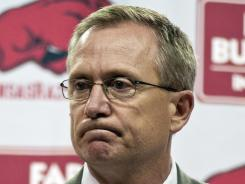 Arkansas athletics director Jeff Long at a news conference at which he announced that football coach Bobby Petrino had been fired.