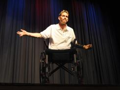 Bryan Anderson speaks at Misericordia University in Dallas, Pa., in a fundraiser for the 1st Lt. Michael J. Cleary Memorial Fund. Cleary of Dallas, Pa., was killed in Iraq.