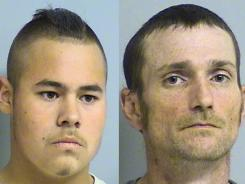 Jacob England, left, and Alvin Watts were charged Friday in shootings that killed three people in Tulsa last weekend.
