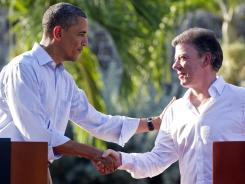 President Obama and Colombian President Juan Manuel Santos hold a news conference Sunday during the Summit of the Americas in Cartagena, Colombia. It was the sixth such summit since 1994.