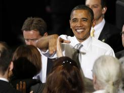 President Obama greets supporters after speaking at a fundraiser in Burlington, Vt., on March 30.