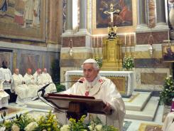 Pope Benedict XVI leads a Mass on Monday at the Vatican.