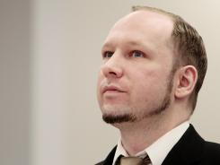 Anders Behring Breivik sits Tuesday in a courtroom in Oslo. He will have five days to explain why he set off a bomb.