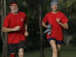 Bette and Sandy Baldwin jog on the trails of their retiremetn community in Boca Raton, Florida four times weekly. Two days a week they lift weights and do conditioning excercises in their apartment.