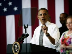 President Obama speaks about job training at Lorain County Community College on Wednesday in Elyria, Ohio.