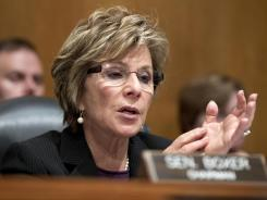 Sen. Barbara Boxer, D-Calif. questions acting GSA Administrator Dan Tangherlini and Inspector General Brian Miller at a hearing on Wednesday.