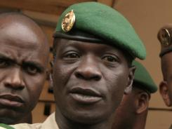 Coup leader Amadou Haya Sanogo stands at junta headquarters in Kati, Mali, on Apr. 9.